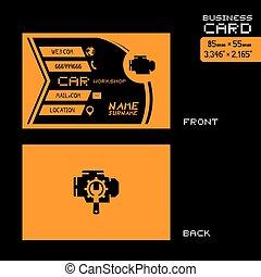 black and orange car workshop business card art