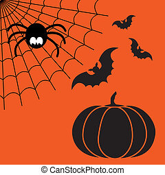 Black and orange cartoon isolated spider web with funny spider, flying bats and pumpkin. Simple image with cobweb for halloween party.