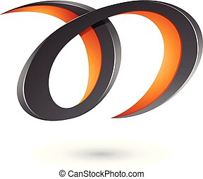 Black and Orange Curvy Letter A and D Vector Illustration