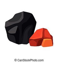 Huge black and small orange coal. Vector illustration on white background.