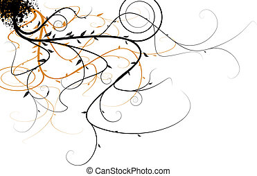 Black and orange flowing floral design that would make an ideal background