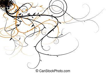 flowing floral - Black and orange flowing floral design that...