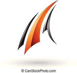 Black and Orange Glossy Flying Letter A Vector Illustration