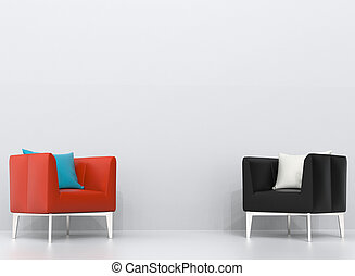 Black and orange leather armchairs in white living room