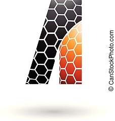Black and Orange Letter A with Honeycomb Pattern Vector Illustration