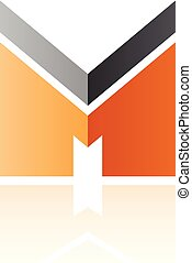 Black and Orange Letter M with a Thick Stripe and Reflection Vector Illustration