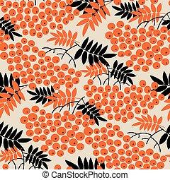 Black and orange rowanberry seamless pattern - Black and...