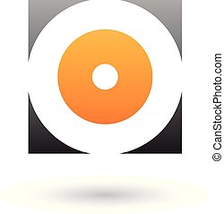 Black and Orange Square Icon of a Thick Letter O Vector Illustration