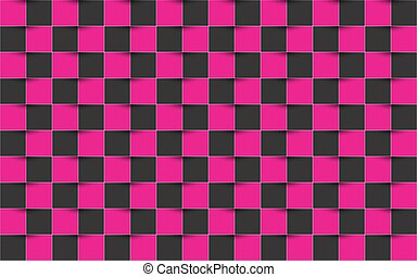 Black and pink checkered background, abstract vector square texture