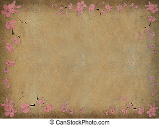 Black and pink faded floral print on aged background