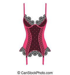 Black and pink lacy corset on white background