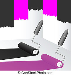Black and pink paint.