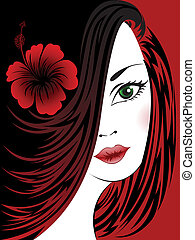 Black and red background with a woman