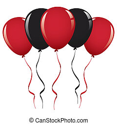 black and red balloon ribbon