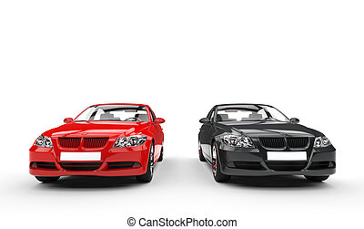 Black And Red Cars Front View