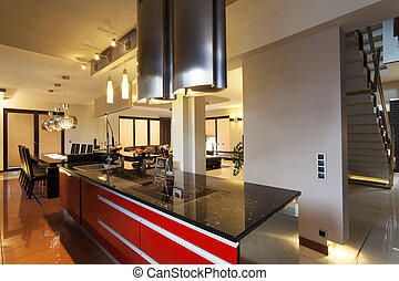 Black and red counter in kitchen - Black and red counter top...