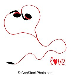 Black and red earphones in shape of heart. White background.