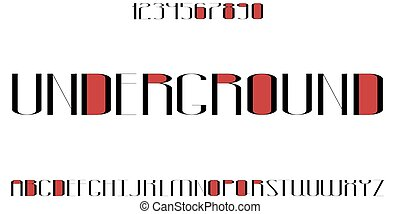 Black and red font with numbers. Stylish slim alphabet