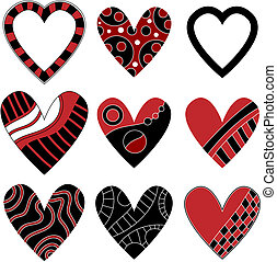 Black and red heart collection, isolated on white