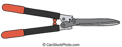 Black and red hedge shears