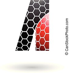 Black and Red Letter A with Honeycomb Pattern Vector Illustration