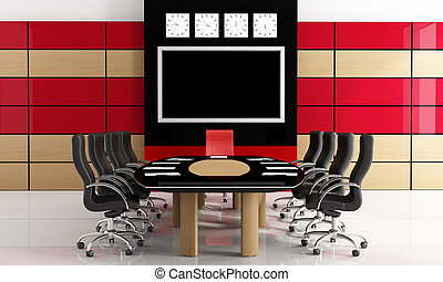 Black and red meeting room - Modern black and red...