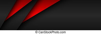 Black and red modern material header. Overlayed sheets of paper banner. Corporate template for your business. Vector abstract background