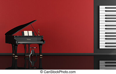 music room with grand piano - Black and red music room with...