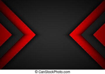 Black and red overlapped arrows. Abstract modern vector background with place for your text. Material design. Abstract widescreen background