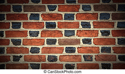 Black and red painted brick wall
