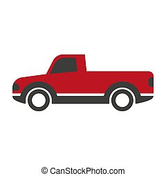 Black and red pick-up truck - Vector illustration of red and...