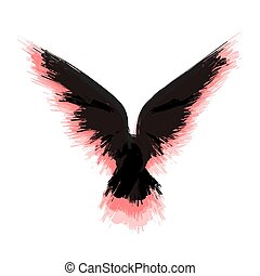 Black and red raven