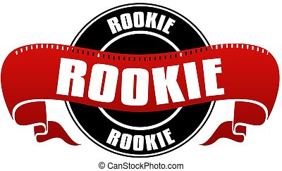 Black and red ROOKIE badge and ribbon. Illustration concept