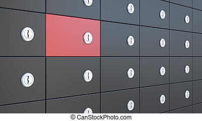 safety deposit boxes - black and red safety deposit boxes,...
