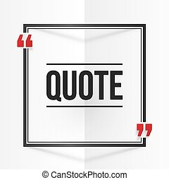 Black and red square quote frame at white folded paper background