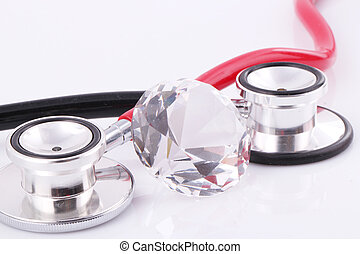 stethoscopes - Black and red stethoscopes with a diamond...