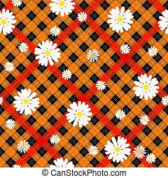 Black and red tartan plaid and daisy flowers pattern on checkered background for textile eps 10