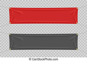 Black and red textile banners with folds