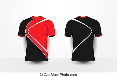 Black and red with white lines sport football kits, jersey, t-shirt design template