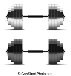 Black and silver classic power dumbbells
