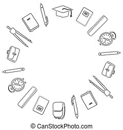 Black and white. 1 September and Back to school. Round frame of school supplies. Coloring. Vector.