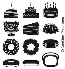 Black and white 12 dessert icon silhouette set