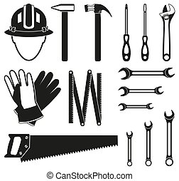 Black and white 15 handyman tools silhouette set