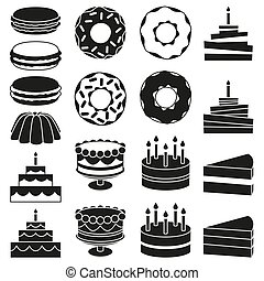 Black and white 18 dessert icon silhouette set
