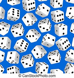 Black and white 3D dice seamless pattern