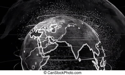 Black and White 3D rendering of earth technology, business and communications background
