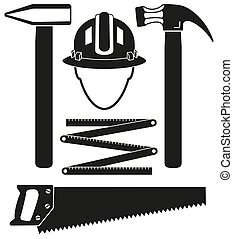 Black and white 5 handyman tools silhouette set