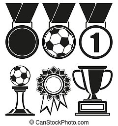 Black and white 6 elements award silhouette set.