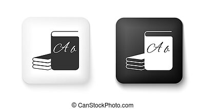 Black and white ABC book icon isolated on white background. Dictionary book sign. Alphabet book icon. Square button. Vector