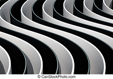 Black and white abstract background, 3D rendering